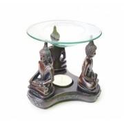 Аромалампа Три Будды полистоун со стеклянной чашей