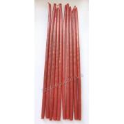 Свеча восковая натуральная бордовая тонкая 25 см набор