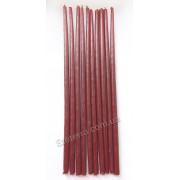 Свеча восковая натуральная красная тонкая 25 см набор 10 шт